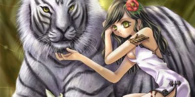 girl hugging a tiger out of trust