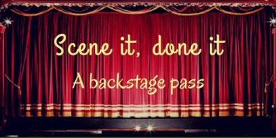 Sensory Scene - stage curtains with scene it done it a back stage pass written across them
