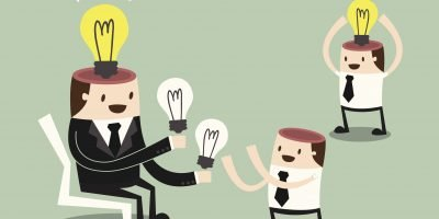 Picture of a cartoon mentor handing out lightbulbs