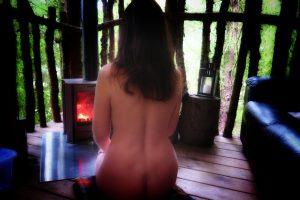 losing the groove - expectations: missy naked in front of a woodburning stove in a cabin