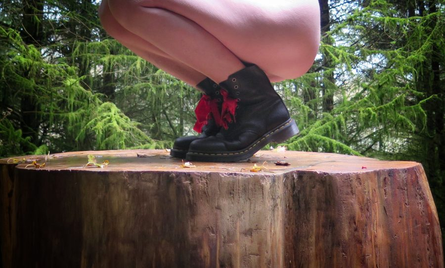 Missy naked in docs in the woods
